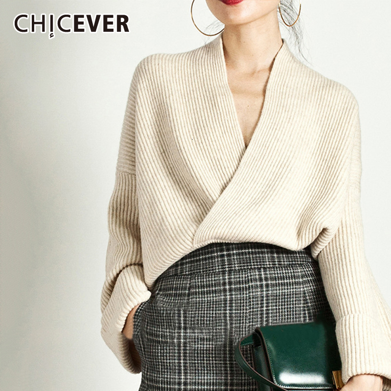 CHICEVER Elegant Knitting Sweater Women Long Sleeve V Neck Pullover Tops Female Casual Fashion Jumper 2020 Autumn Tide Clothes