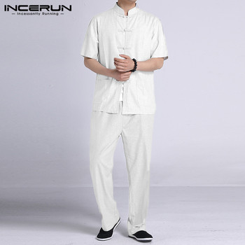 INCERUN Men Buttons 2 Pieces Chinese Style Suits Men Vintage Sets Summer Short Sleeve Stand Collar Blouse Long Pants Sets S-5XL