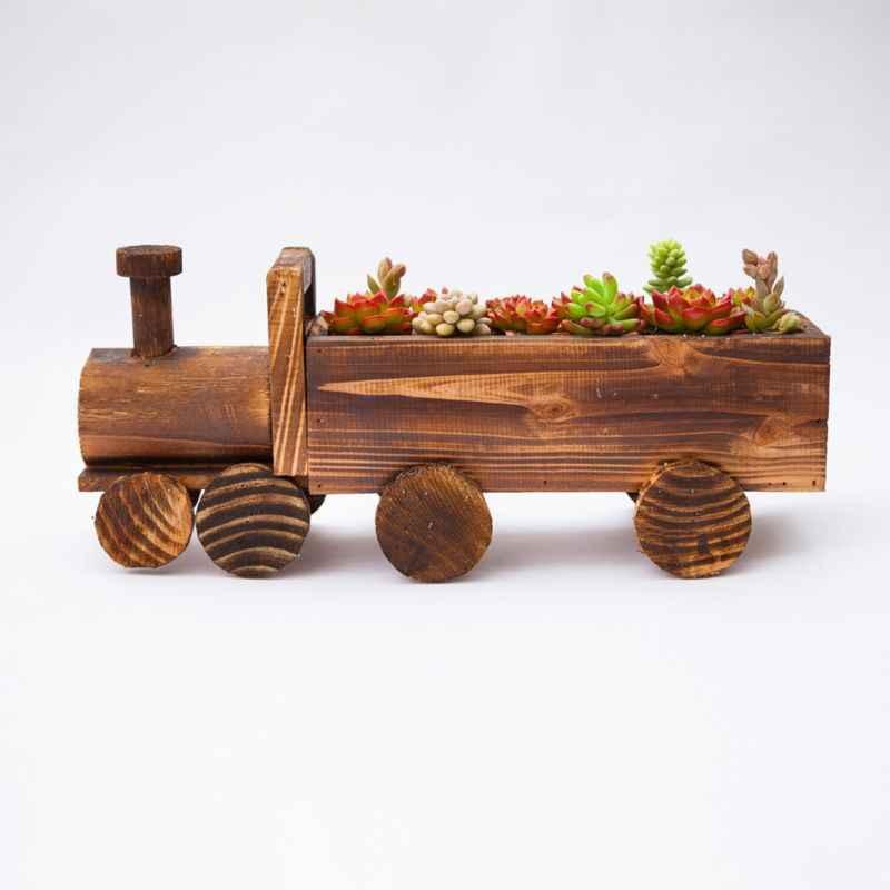 Retro trem de madeira vaso de flores planta suculenta vaso bonsai plantador casa decoração do jardim para pequenas plantas de ar suculentas