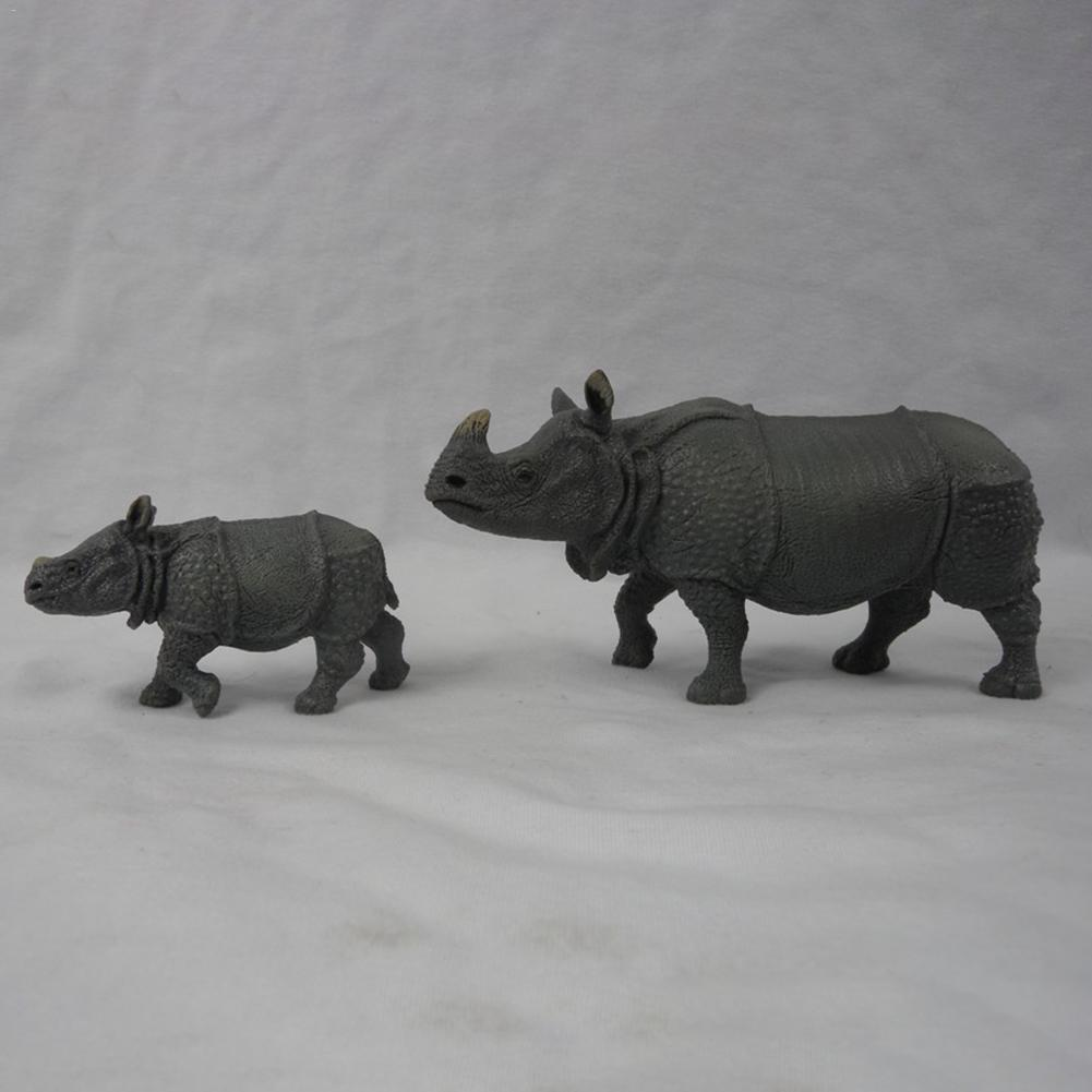 Indian Rhino Simulation Animal Model Forest Wild Animal Toys Office Ornaments Creative Children Educational Toy Birthday Gift
