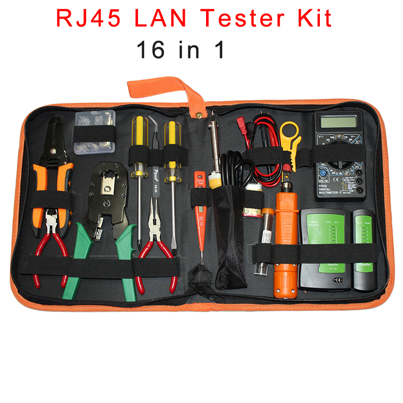 Portable Ethernet Network Cable Tester Tools Kit RJ45 Crimping Crimper Stripper Punch RJ11 RJ12 CAT5 CAT5e Wire Line Detector