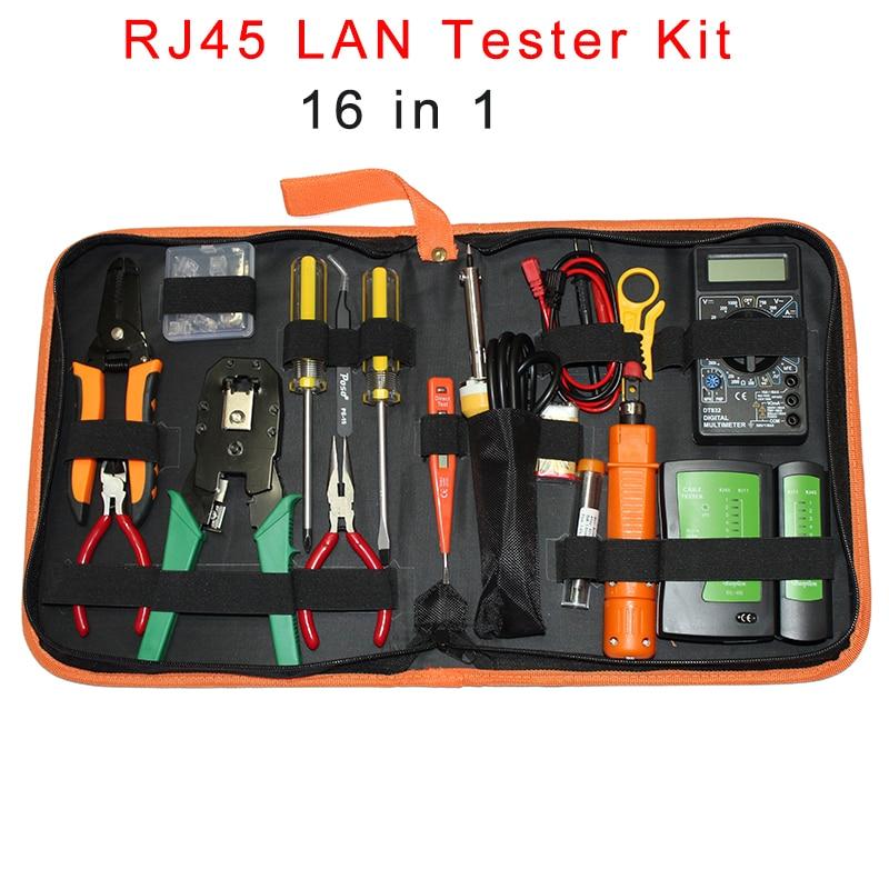Portable Ethernet Network Cable Tester Tools Kit RJ45 Crimping Crimper Stripper Punch RJ11 RJ12 CAT5 CAT5e Wire Line Detector