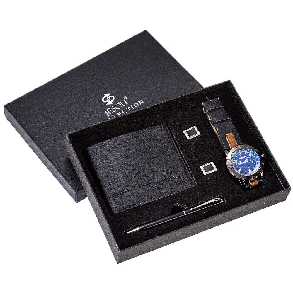 Men's Gift Set Beautifully Packaged Watch + Wallet Cufflinks Pen Set Creative Combination Set