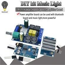 Tpa3116 kit diy música luz uv medidor bluetooth 5.0 placa do amplificador de potência 2*50w tpa3116d2 placa amplificador de potência de canal duplo