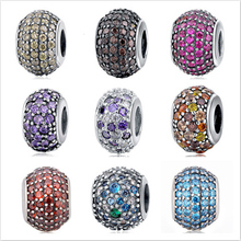 Fit Authentic Pandora Bracelet Silver 925 Original Pendant Charms Antique Beads Jewelry Clear Crystal Stone Charm