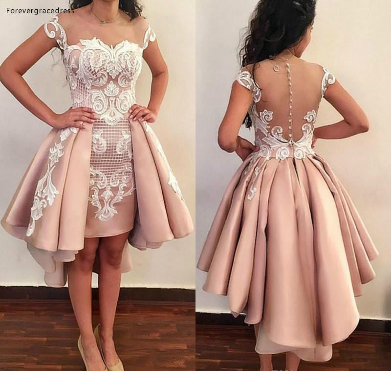 2019 Cheap Pink   Cocktail     Dress   Cap Sleeves Lace Appliques Semi Club Wear Homecoming Graduation Party Gown Plus Size Custom Made