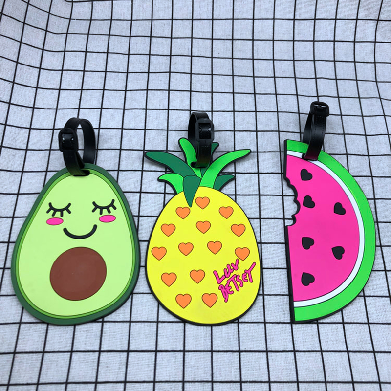 Travel Accessories Cartoon Fruit Avocado Luggage Tags Holder Portable Suitcase ID Address Baggage Boarding Label Silica Gel