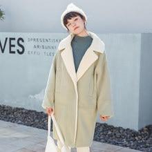Winter New Korean Version Lamb Woolen Coat thickening Warm Fashion Long Jacket Loose Elegant Outerwear