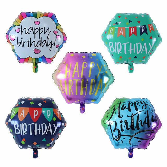 5 pçs 22 polegada colorido diamante feliz aniversário balão de impressão casamento noivado chá de bebê aniversário decora
