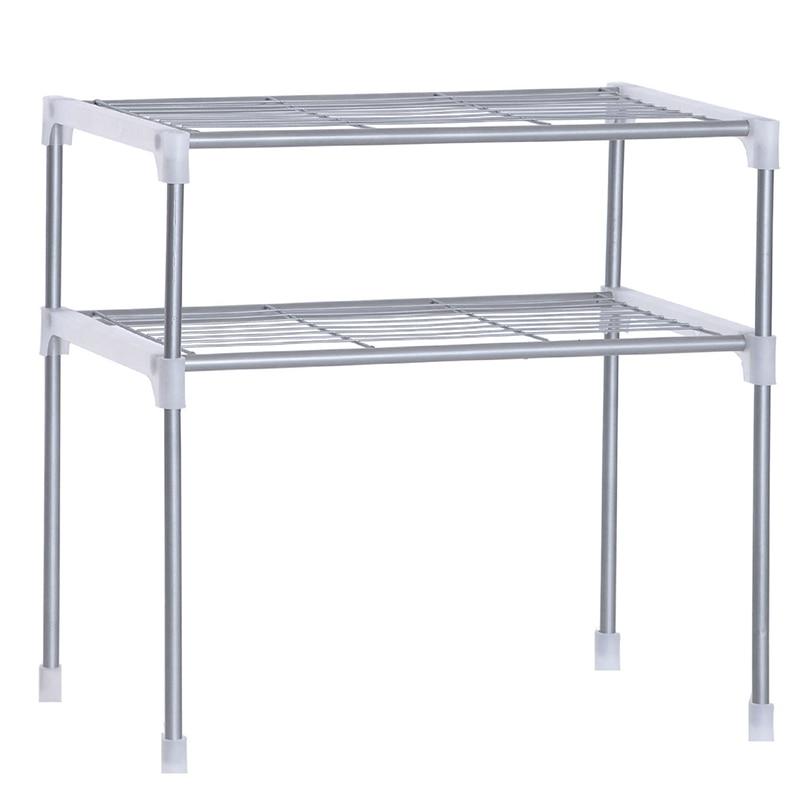 Adjustable Steel Microwave Oven Shelf Detachable Rack Kitchen Tableware Shelves Home Bathroom Storage Rack Holder|Storage Shelves & Racks| |  - title=