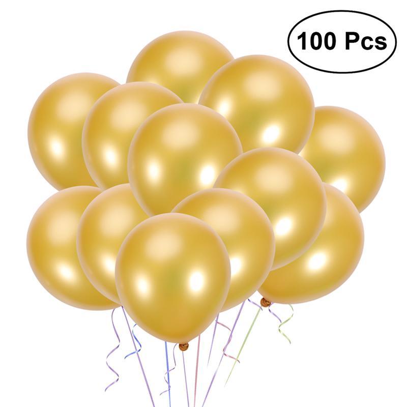 100 шт. 10-дюймовый латексный шар с жемчугом, набор воздушных шаров на день рождения, украшения для праздника (Золотой)