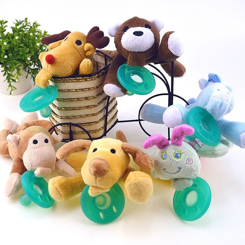 Hot Sale 1PC Cartoon Infant Baby Boy Girl Orthodontic Silicone Pacifiers Toys Cuddly Plush Animal Baby Feeding Nipple Wholesale