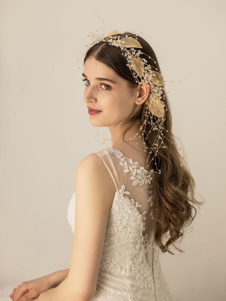Himstory винтажные повязки на голову с цветами и листьями свадебные аксессуары для волос женские Свадебные тиара на голову вечерние украшения ... - 5