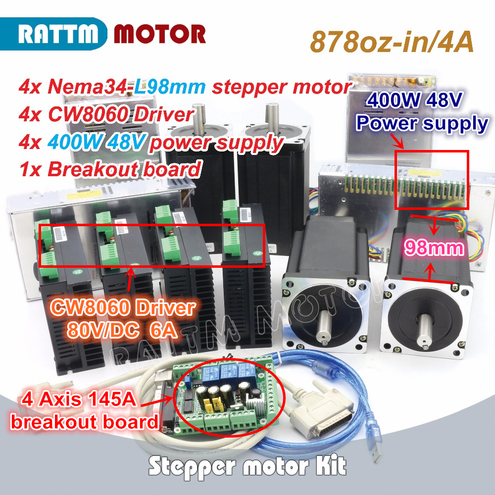 4 Axis NEMA34 878oz-in CNC controller Kit Single shaft stepper motor + CW8060 Driver 6A 80V/DC for Large size Router Milling