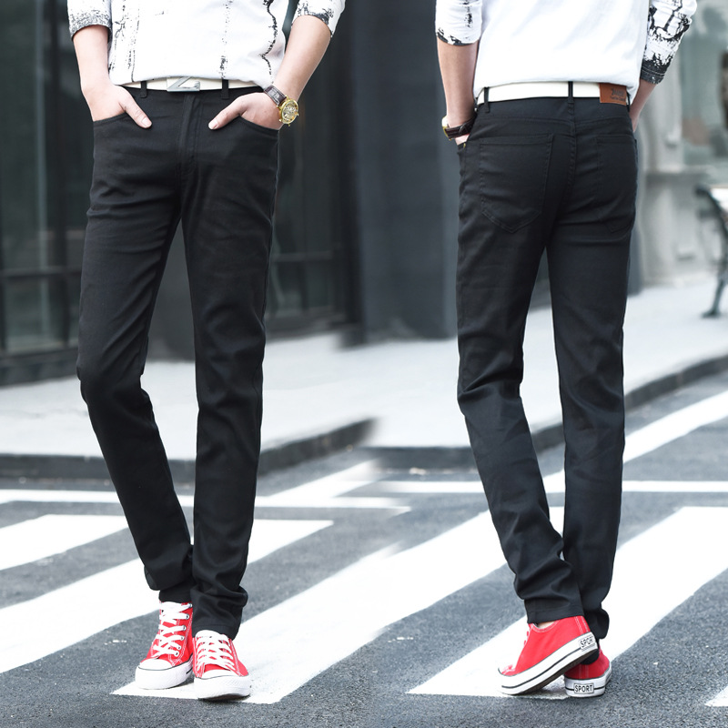 Special Offer Hot Selling Teenager Men's, Black Elasticity Skinny Jeans Four Seasons Paragraph Medium Waist MEN'S Trousers