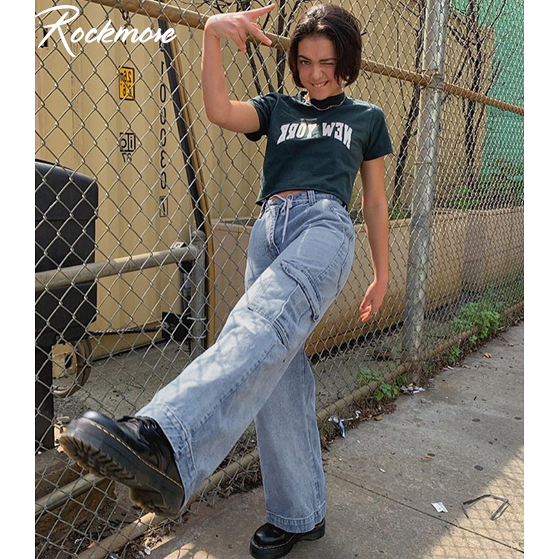 Rockmore Blue Vintage High Waist Jeans Woman Denim Jean Femme Korean Harajuku Wide Leg Jeans Women Streetwear Plus Size Autumn
