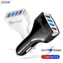 4 Port USB Auto Ladegerät Adapter Mit Kabel Universal QC 3,0 Auto Ladegerät Handy Auto-Ladegerät Für iPhone samsung Xiaomi Huawei(China)