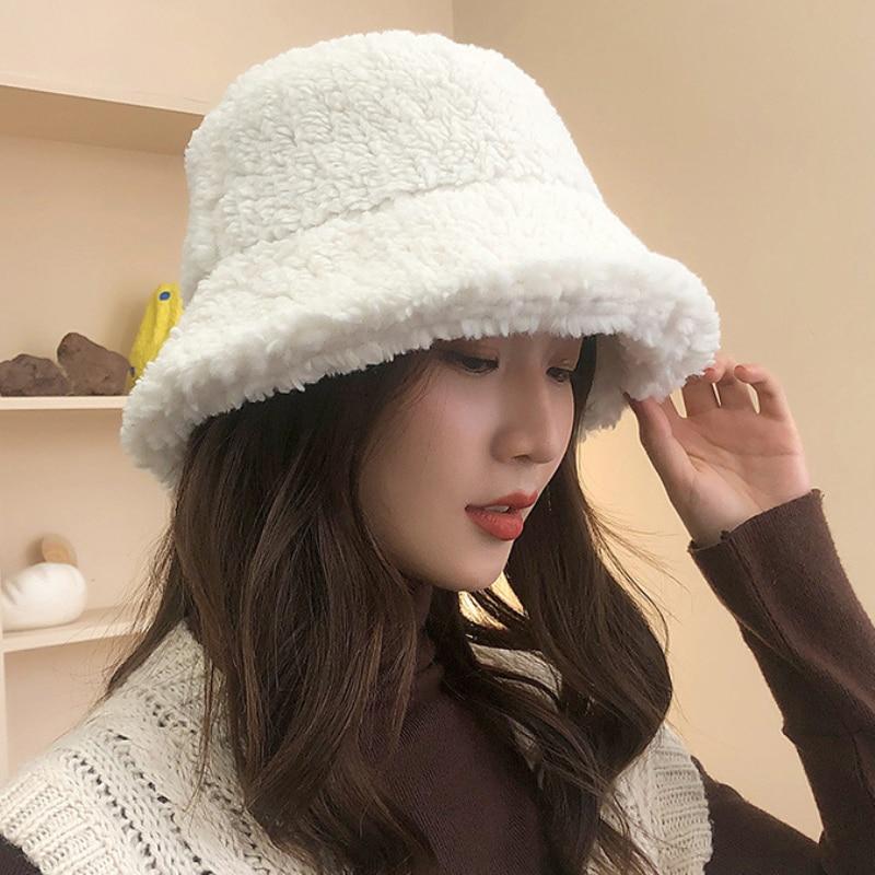 Fleece bucket hat Winter bucket hat Warm panama Womens winter hat
