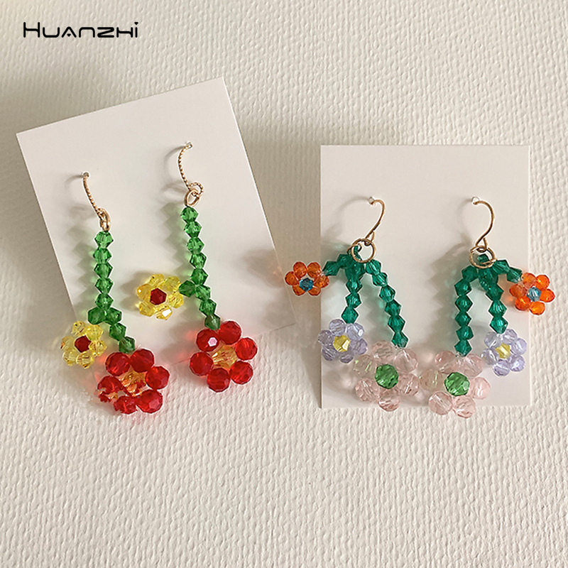 HUANZHI 2020 Korea S925 Colorful Geometric Transparent Crystal Flowers Long Drop Earrings for Women Girls Jewelry Gifts(China)