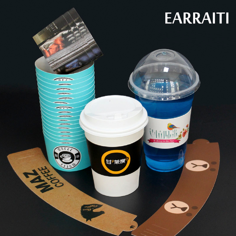 Custom Coffee Cup Sleeve For Milk Tea Juice Cup White Cardboard Cup Sleeves Idol Logo Customzed Disposable Cup Sleeve Wedding - 5