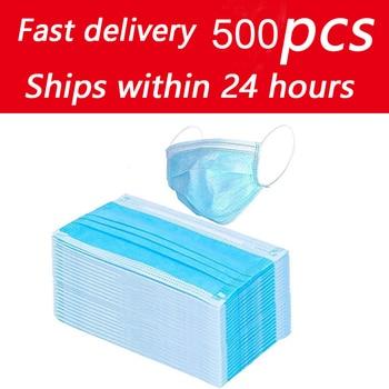 500pcs Disposable Face Mouth Mask Nonwoven Masks Anti PM2.5 Hygiene Safe Mouth Face Mask