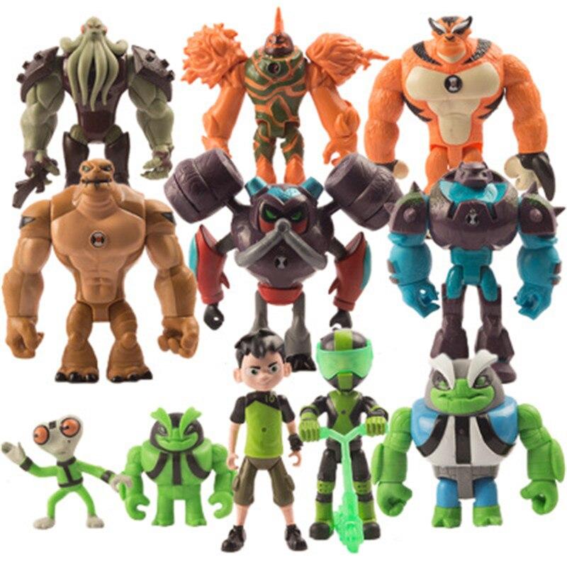 6 pces/9 pces/11 pces ben 10 omnitrix brinquedo cinza matéria heatblast humongousaur rath 12cm pvc figuras de ação crianças brinquedos para presentes das crianças