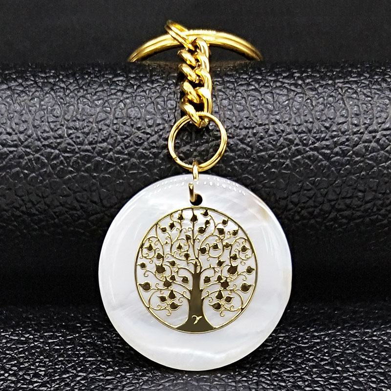 Tree of Life Shell Stainless Steel Keychains Women Gold Color Bag Accessories Jewelry acero inoxidable joyeria mujer K77667B in Key Chains from Jewelry Accessories