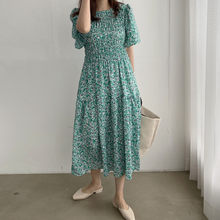Vintage Floral Printed Vintage Women Summer Dress Short Sleeve O-neck Female Midi Dresses 2020 Ladies Casual Chiffon Vestidos(China)