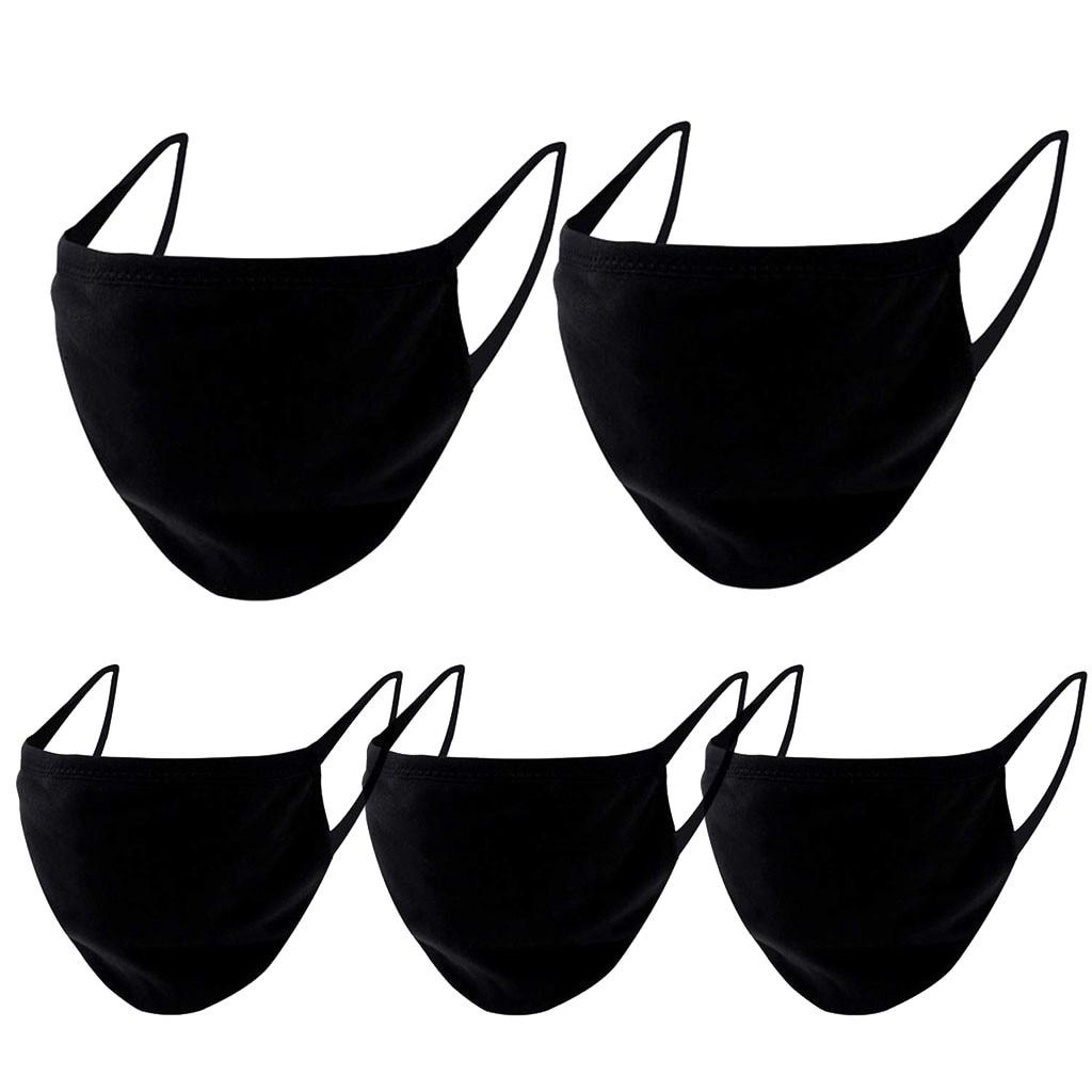 38# 5 Pcs Face Shiled Mouth Mask Solid Black Color Reusable Breathable Masks Unisex Washable Reusable Dust Mask Mouth Covers 2