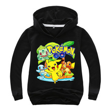 New Spring Autumn Sweatshirt Cotton Cartoon POKEMON GO Pikachu Kids Boys Girls Clothes Long Sleeve Hoodies T Shirt Retail