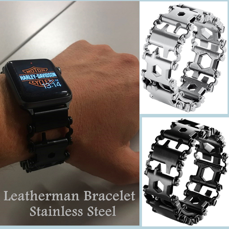 Leatherman Thread Bracelet Stainless Steel Watch Band Multifunction Tool Outdoor Strap For Apple Watch Series 5 4 3 2 44MM 40MM