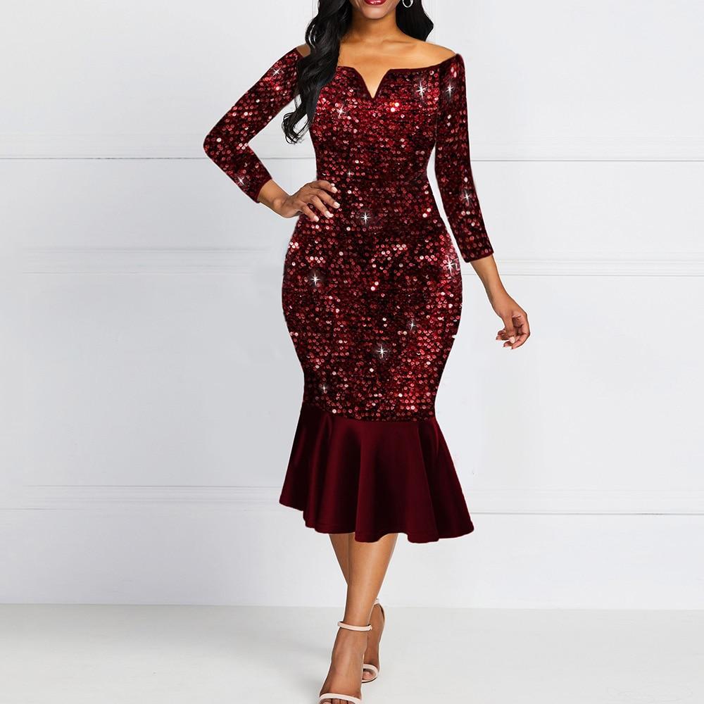 Shiny Evening Off Shoulder Dress Women Bodycon Mermaid Ruffles Burgundy Plus Size Elegant Glitter Sequin Midi Party Dress Ladies