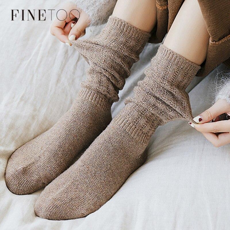 FINETOO calcetines de algodón de Color sólido de alta calidad para mujer calcetines de invierno cálidos de algodón suave transpirable calcetines absorbentes de sudor para mujer