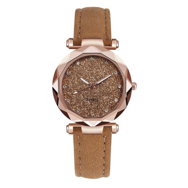 Reloj de pulsera Casual para mujer romántico cielo estrellado cuero diseñador de diamantes de imitación reloj de mujer Simple vestido Gfit Montre Femme