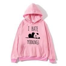2020moleton feminino fleece hoodies Panda I HATE MORNINGS sweatshirt female Harajuku tracksuits men women anime hoodie sudaderas