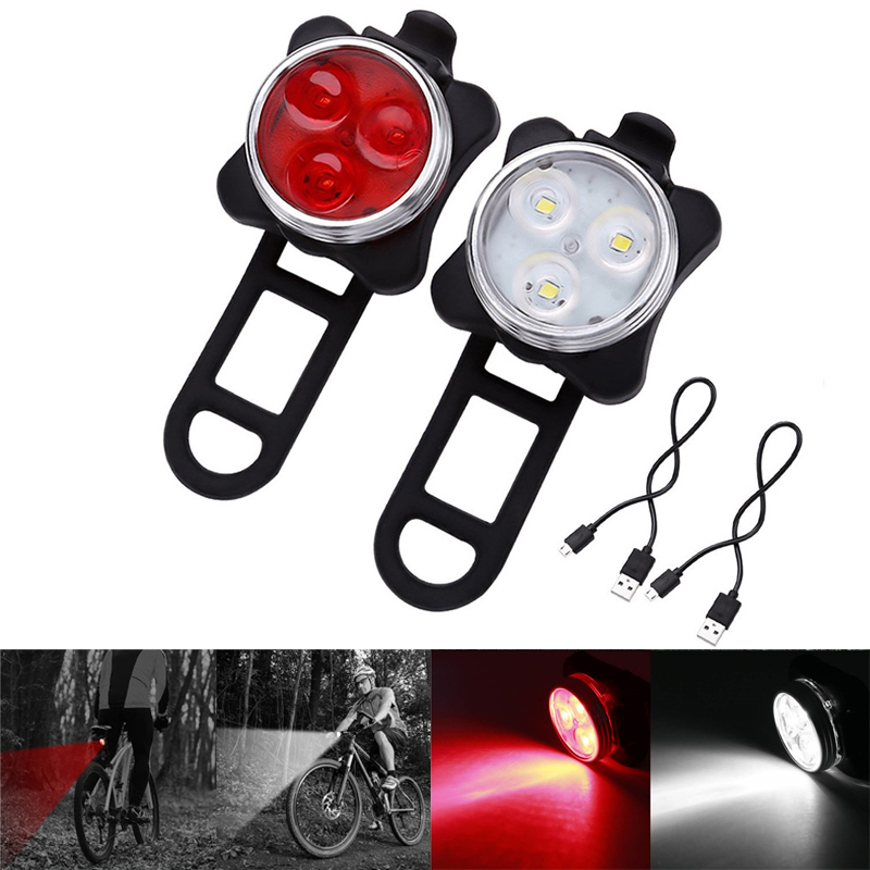 USB Rechargeable Bike Light Set Super Bright Front Headlight And LED Bicycle Light 650mah Lithium Battery 4 Light Mode Options