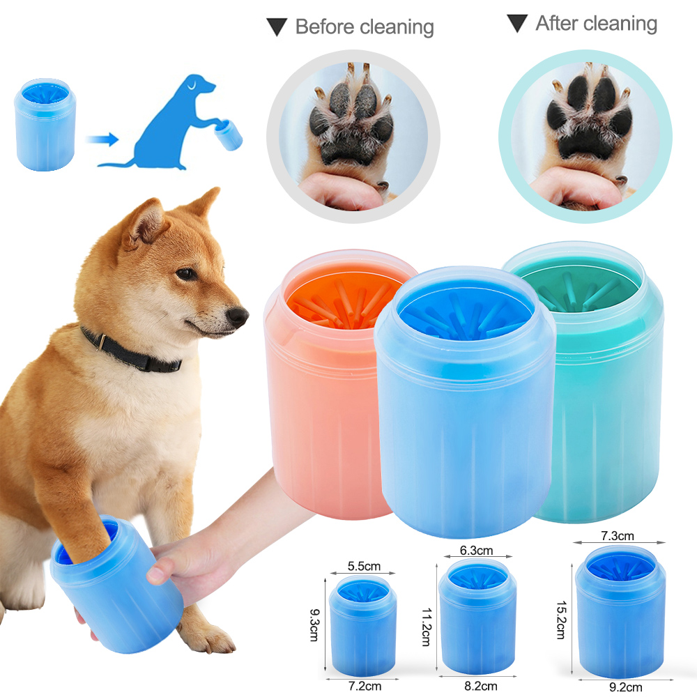 PAPASGIX 1pc Cat Dog Cleaning Tool Soft Plastic Washing Brush Paw Washer Accessories Pet Dogs Foot Clean Cup Paws Plunger