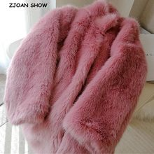 High quality Winter Chic Stand Collar Hairy Shaggy Faux Fur Coat Pink Long sleeve Furry Fur Jacket Women Mid Long Outerwear(China)