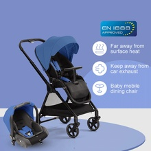 High Landscape Baby Stroller and Basket Travel Portable Wagon Lightweight Folding Four Wheel Stroller Kids Troller Pram