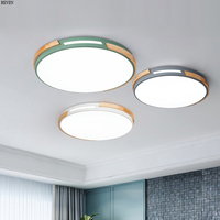 Nordic Eiche Dimmbare Led deckenleuchten Wohnzimmer Runde Macaron Led Decke Lampe Schlafzimmer Führte Decken Leuchte-in Deckenleuchten aus Licht & Beleuchtung bei
