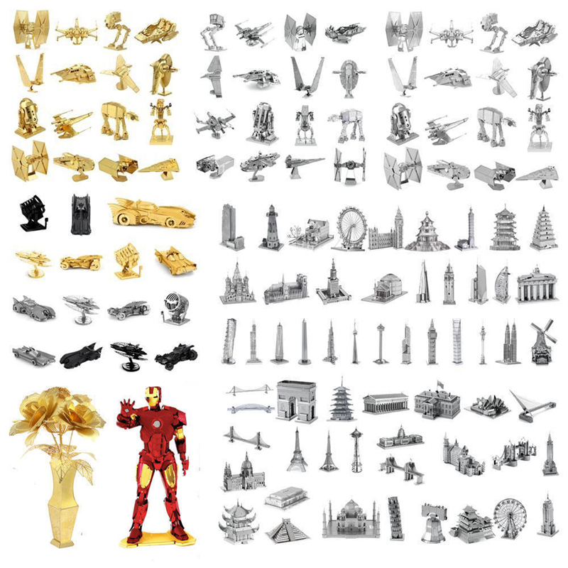 3D Metal Puzzles Iron Man Star Wars Tanks Marvel Model Laser Cut Manual Jigsaw Kits Action Figure Toys Adults Boy Christmas Gift