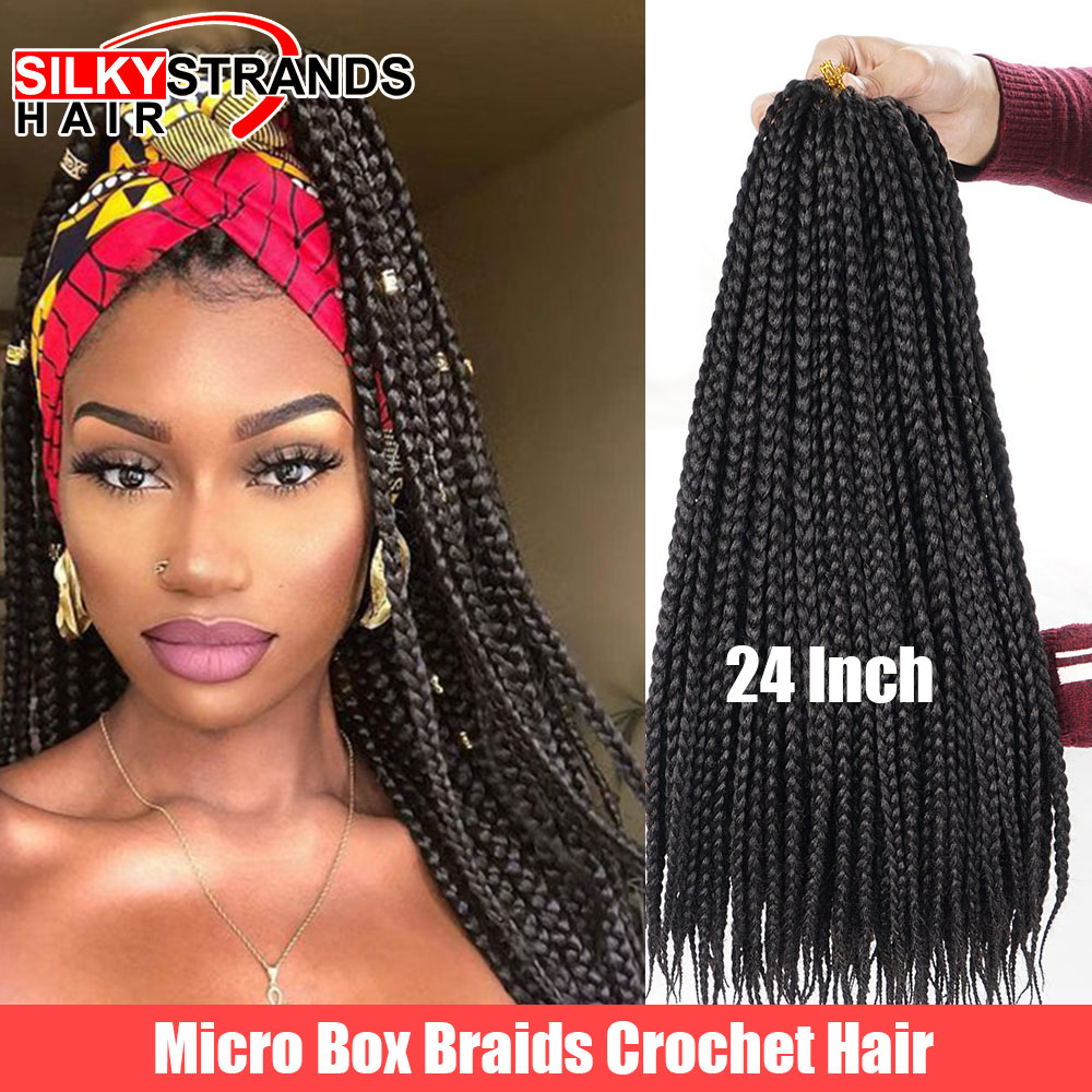 Silky Strands Micro Box Braids Crochet Hair Extensions Ombre High Temperature Fiber Synthetic Braiding Hair Bulk 22strands/pack