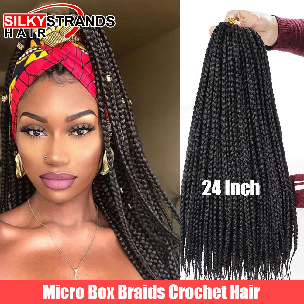 Silky Strands Micro Box Braids Crochet Hair Extensions Ombre High Temperature Fiber Synthetic Braiding Hair Bulk 22strands/pack