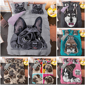 Cartoon Pug Duvet Cover Set Cute Dog 3D Beding 2/3pcs Single Twin Queen King Size Bed Drop Shipping Bedding Luxury