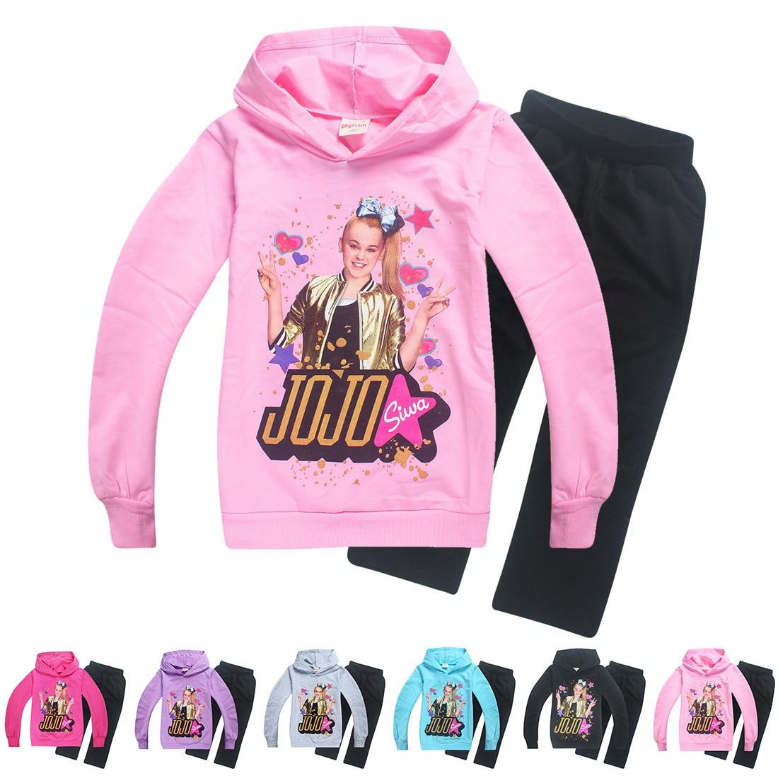 JOJO Siwa/комплекты для малышей Модная уличная одежда, рубашка с длинными рукавами пальто на молнии комплект из 2 предметов, одежда для