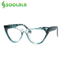 Glasses Women SOOLALA Leopard-Pattern New Fashion Cateye