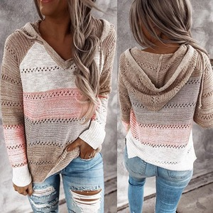 2020 Autumn Winter Sweaters Women Hollow Long Sleeve Sweater Hoodie Tops V Neck Patchwork Casual Knitted Elegant Pullover Jumper