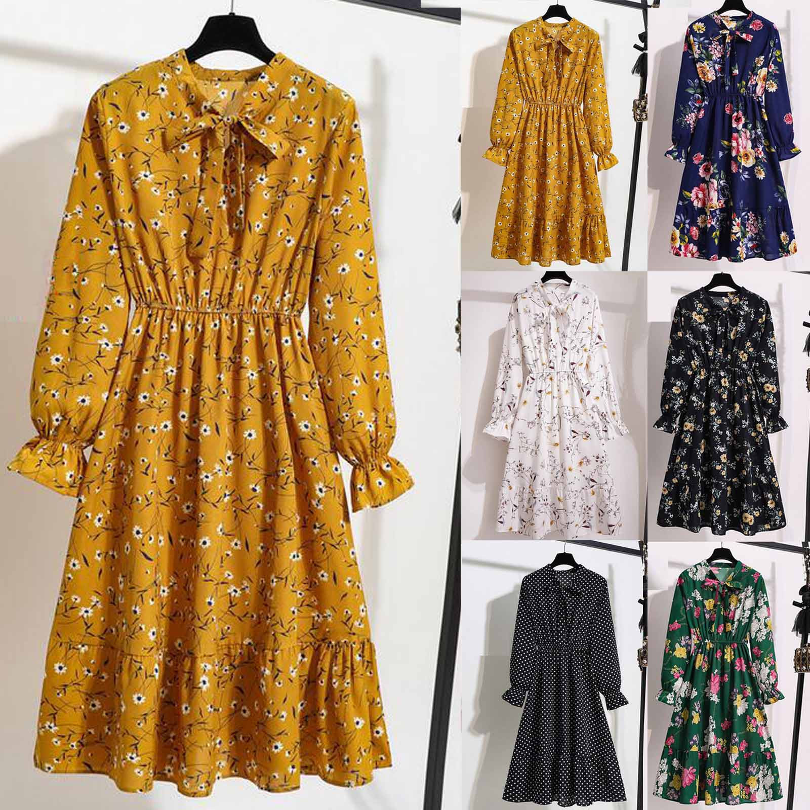 F# Summer Bohe Elegant Woman Dress Floral Chiffon Puff Sleeve Printing Casual Party Vintage Dresses Femme Robe Women Clothes