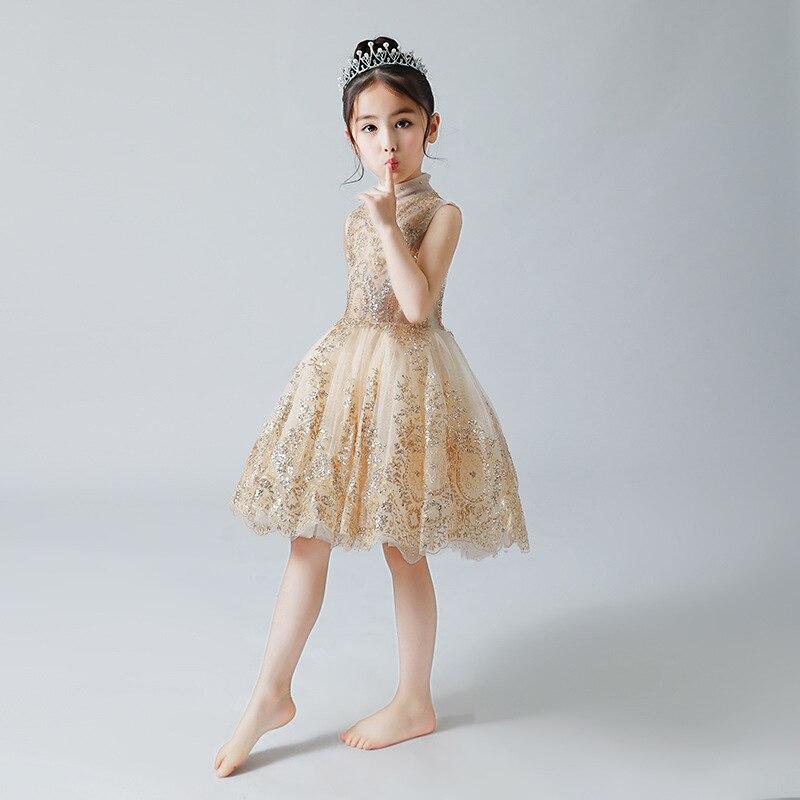 CHILDREN'S Dress Princess Dress Girls Puffy Yarn Piano Costume Gold Sequin Catwalks Clothing Birthday Late Formal Dress