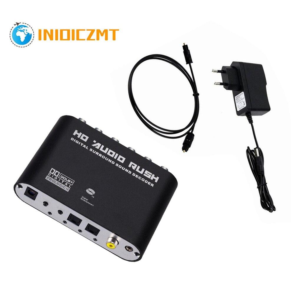 INIOICZMT AC3 аудио цифро-аналоговый 5,1 канала стерео цифро-аналоговый преобразователь Оптический SPDIF коаксиальный кабель AUX 3,5 мм до 6RCA Декодер Ус...